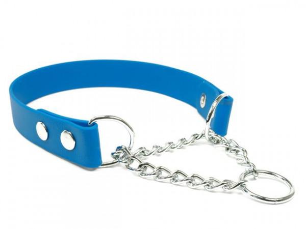 Biothane Halsband mit Durchzugskette in vielen Farben - 13-25mm breit